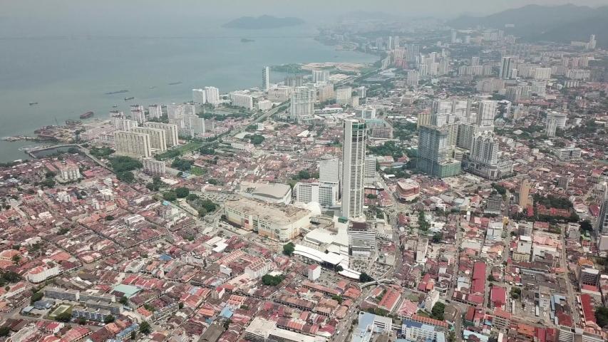 Aerial George Town Penang city view.