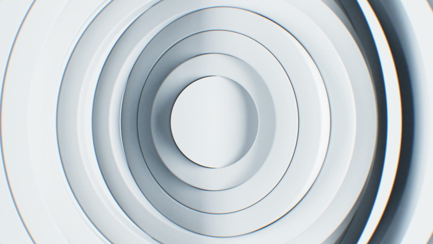 Beautiful Abstract White Circles Waving Seamless Background. Looped 3d Animation of Volume Clean Rings Turning Pattern. Business and Technology Concept. 4k Ultra HD 3840x2160. | Shutterstock HD Video #1039541606