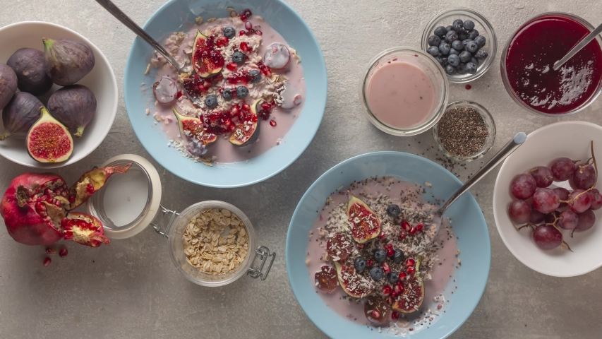 Stop motion cooking a healthy cereal breakfast with yogurt and fruit | Shutterstock HD Video #1039895636