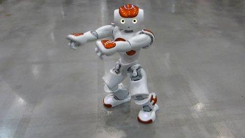 GDANSK, POLAND - JUNE 12 2015: Humanoid autonomous robot dancing