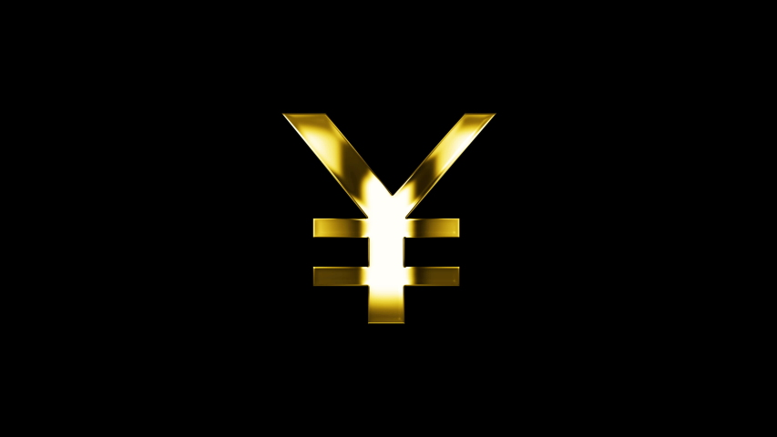 Golden Japanese Yen Money currency symbol with shimmering highlights on a black background. Japanese currency symbol. 4k video.   Shutterstock HD Video #1039955726