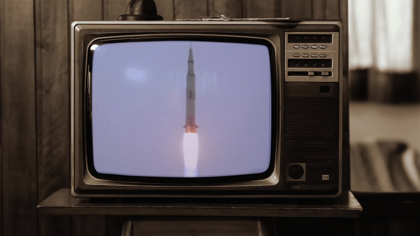 1969. Historical Footage of the NASA Apollo 11 Launch On an Old Retro TV. Sepia Tone. Elements of this video furnished by NASA.   | Shutterstock HD Video #1040151596