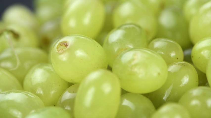 Some fresh harvested green Grapes rotating on a plate (seamless loopable; 4K)