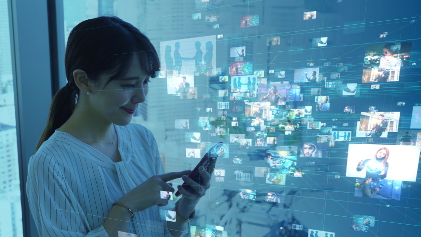 Social networking service concept. Streaming video. Video library. | Shutterstock HD Video #1040386196