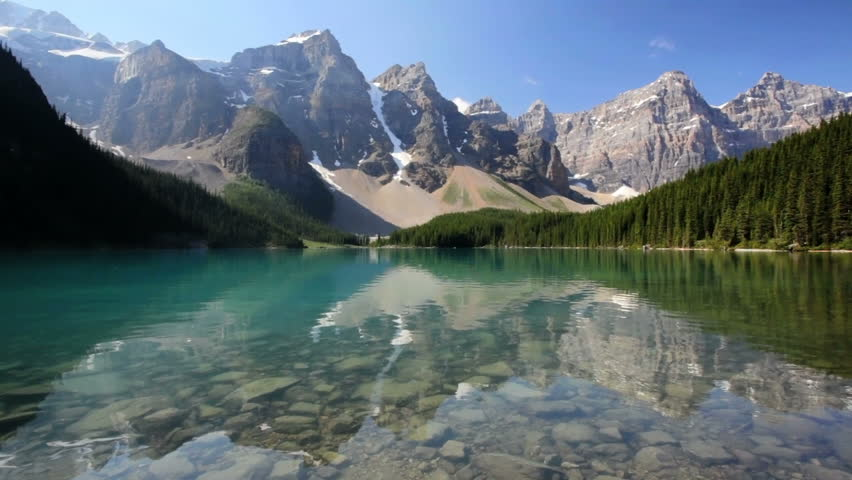Banff National Park, Canada, Moraine Lake, dolly shot
