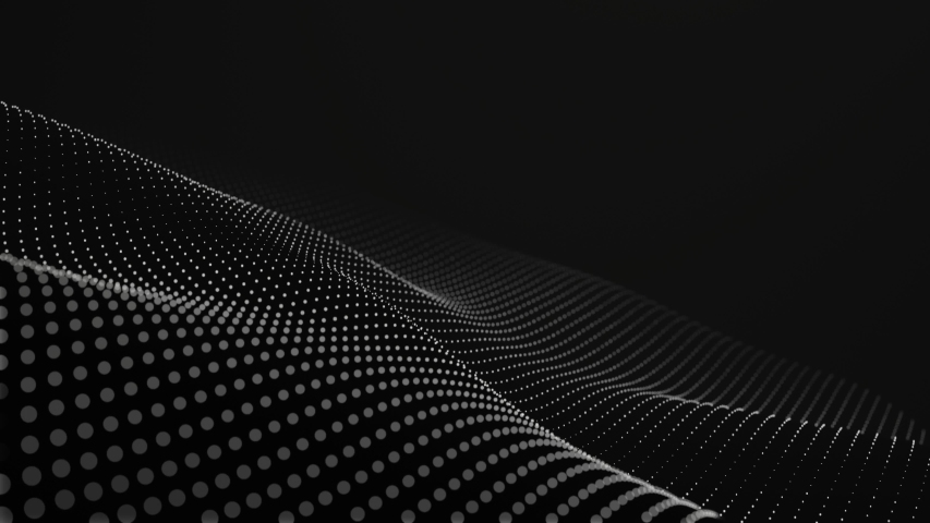 Futuristic grid wave of white halftone digital dots data smooth seamless animation on dark with dim light background. Flow particles landscape. For cyber technology, sound visualization, big data | Shutterstock HD Video #1040604596