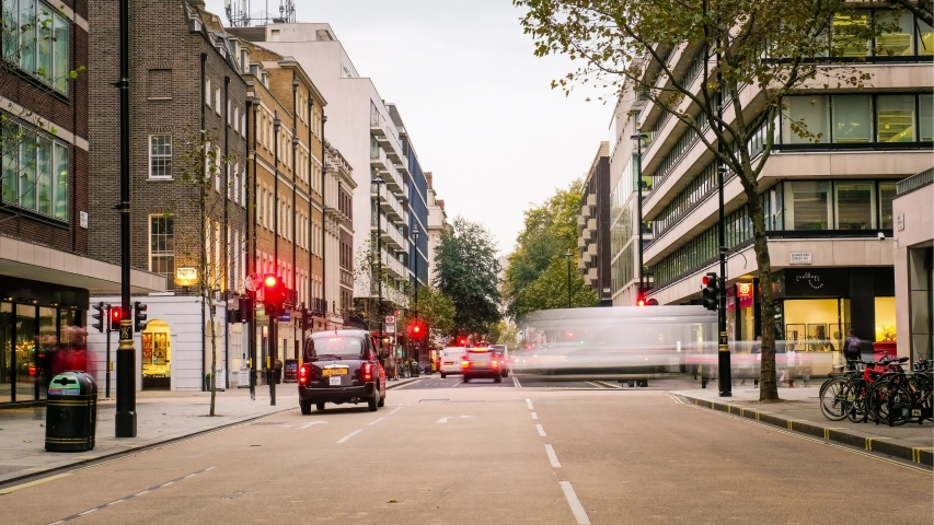 LONDON- NOVEMBER, 2019: Time lapse of Baker Street, a busy landmark street in London's Marylebone district, lined with offices and shops | Shutterstock HD Video #1040619476