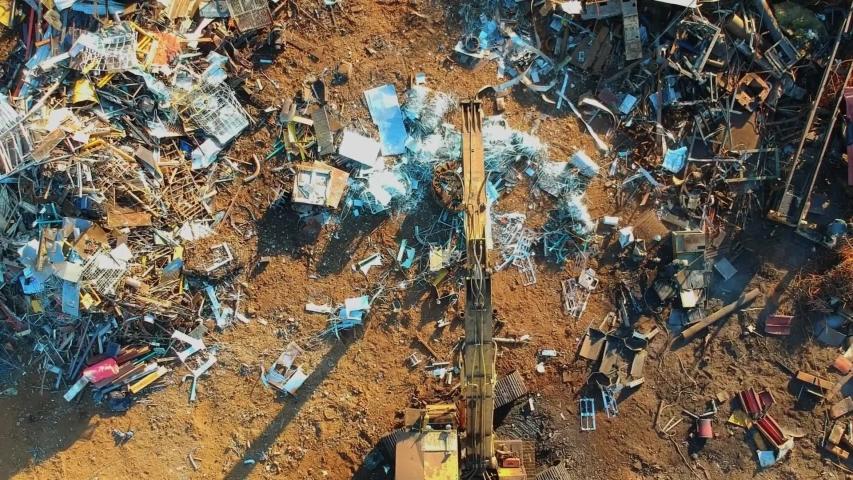 Steel junk yard recycle process | Shutterstock HD Video #1040684366