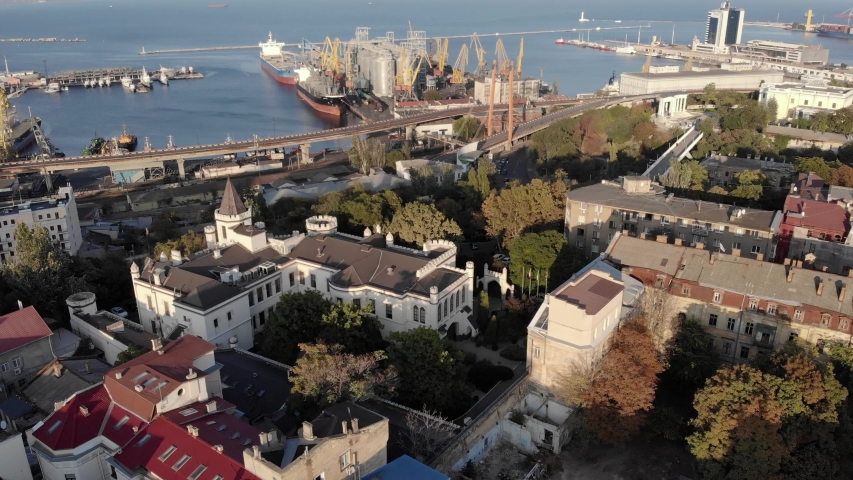 Aerial view of Odessa city and sea port at sunny summer day drone | Shutterstock HD Video #1040687096