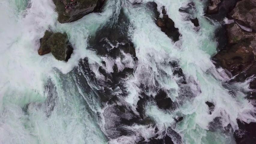 Aerial closeup on the Rhine waterfall | Shutterstock HD Video #1040714726