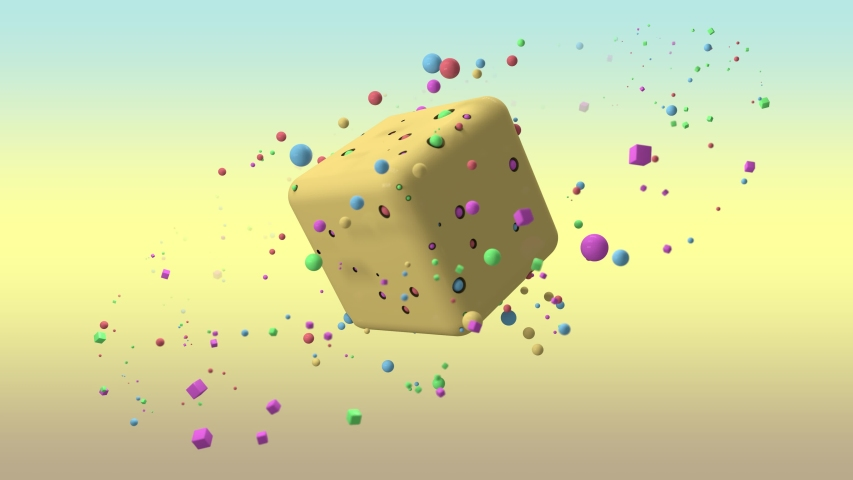 3D animation of a large yellow cube with holes and balls in the holes and a lot of balls flying in a circular orbit. 4K animation for background screensavers, Wallpapers. Futuristic design. | Shutterstock HD Video #1040724866