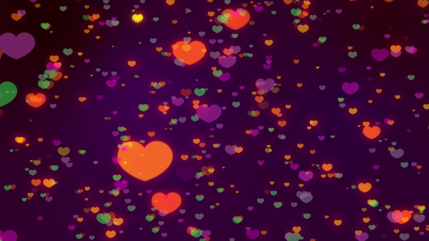 Seamless loop of colorful heart icon bokeh on colorful background for Christmas festival or winter season contents or for wallpaper, contents about winter, love content or valentine day. | Shutterstock HD Video #1040783486
