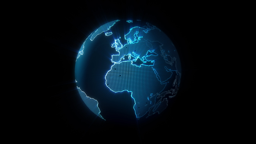 Blue Hologram Earth Rotating  #1040787626