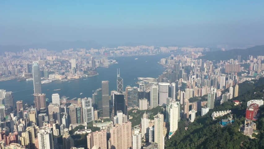09 Oct 2019, View from Victoria Peak, a mountain in the western half of Hong Kong Island   Shutterstock HD Video #1040821226