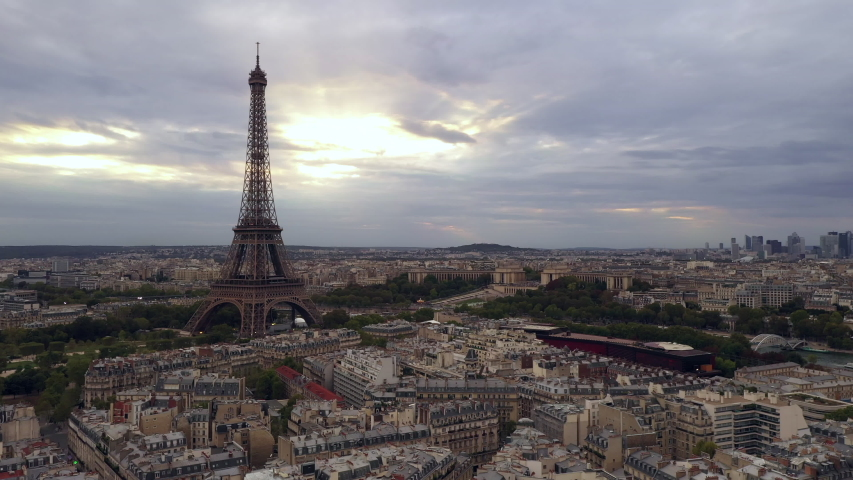 Aerial cityscape of Paris France and Eiffel Tower during sunset  | Shutterstock HD Video #1040906486