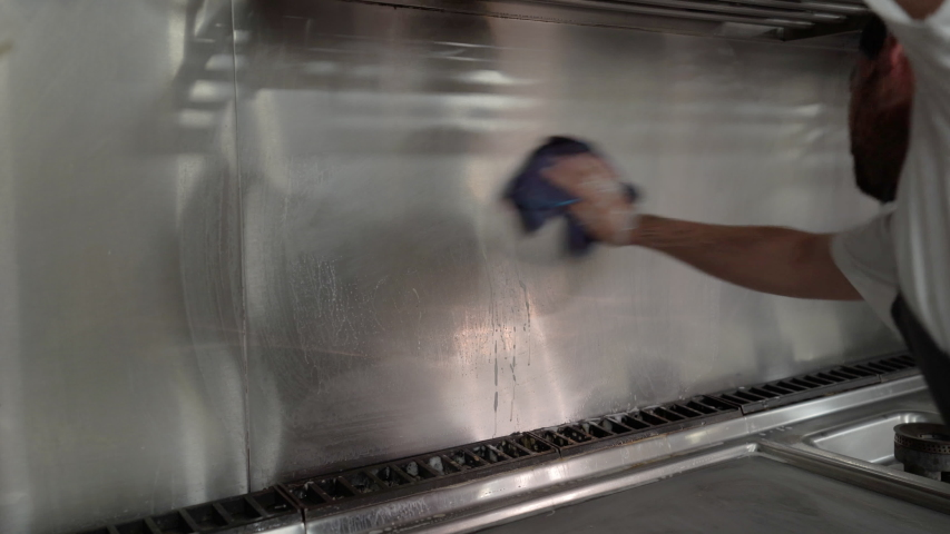 Man cleaning a restaurant kitchen | Shutterstock HD Video #1040961596