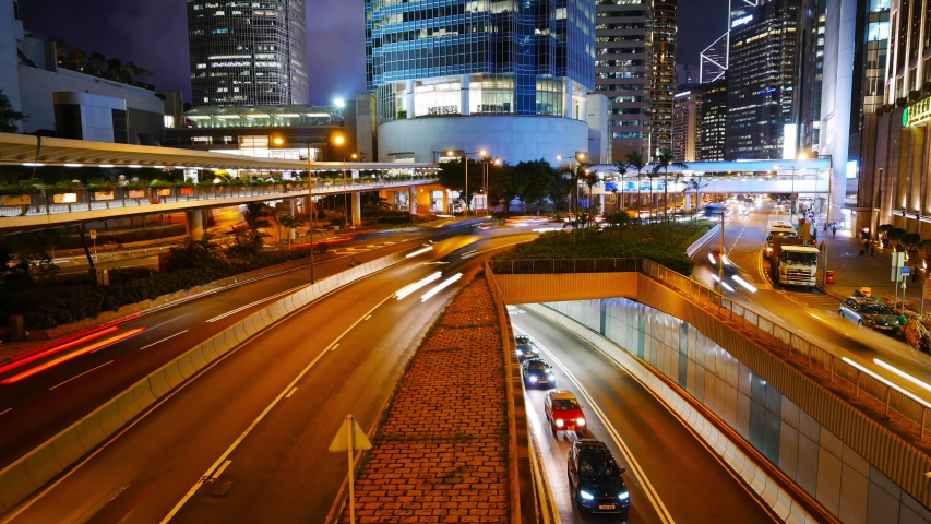 4K Time lapse of Hong Kong central and city traffic  | Shutterstock HD Video #1041075086