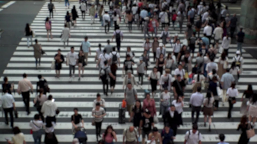 UMEDA, OSAKA, JAPAN - CIRCA SEPTEMBER 2019 : Aerial blurred high angle view of zebra crossing near Osaka train station. Crowd of people at the street. Shot in busy rush hour. Wide slow motion. | Shutterstock HD Video #1041098716