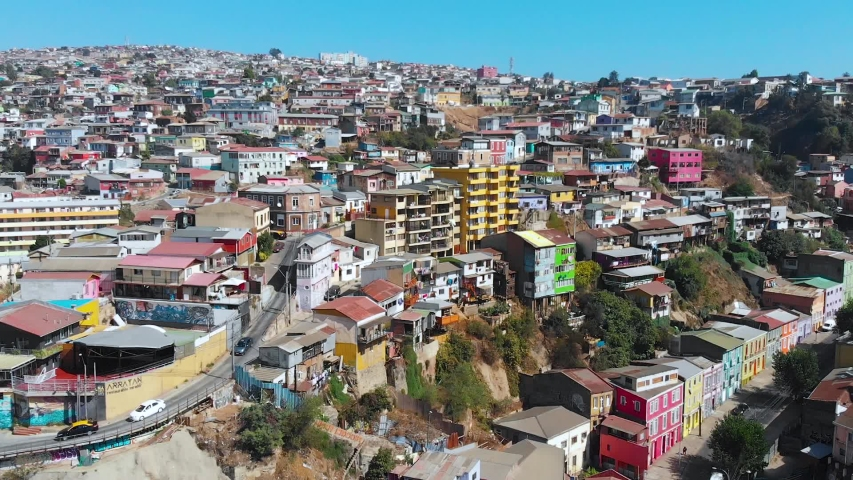 City on the hills, Colorful Houses, cottages (Valparaiso, Chile) aerial view | Shutterstock HD Video #1041121306