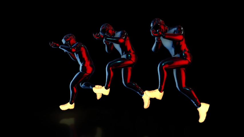 Male Athletes wear futuristic metallic neon costumes and VR 360 headset training for playing games in virtual reality, 3D rendering animation.  | Shutterstock HD Video #1041157996