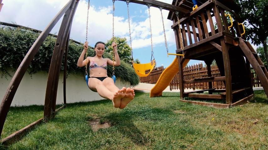 Happy Teen Girl On Swing In Slow Motion | Shutterstock HD Video #1041271096