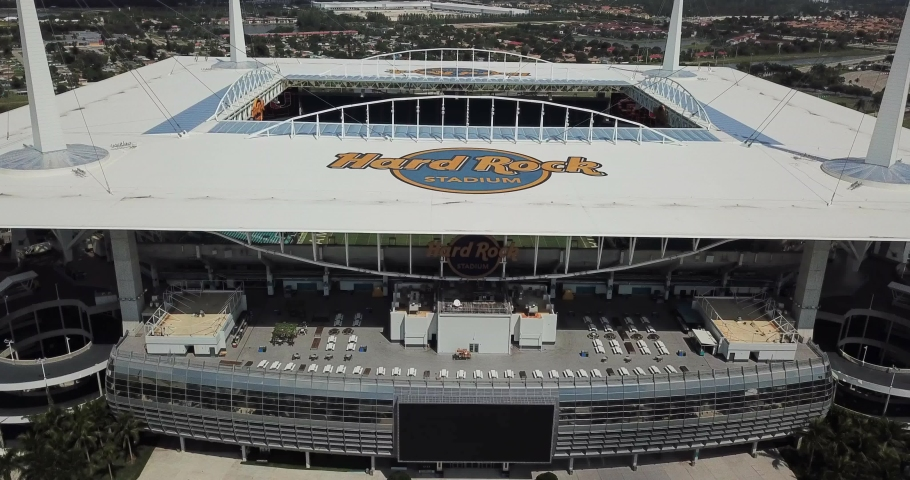 USA, Miami, October 2019: Aerial view of Hard Rock Stadium which will host the 2026 World Cup games
