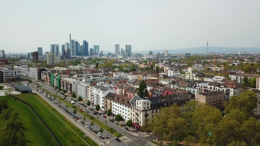 Aerial top view of the beautiful cityscape.Frankfurt, Germany.  | Shutterstock HD Video #1041417916