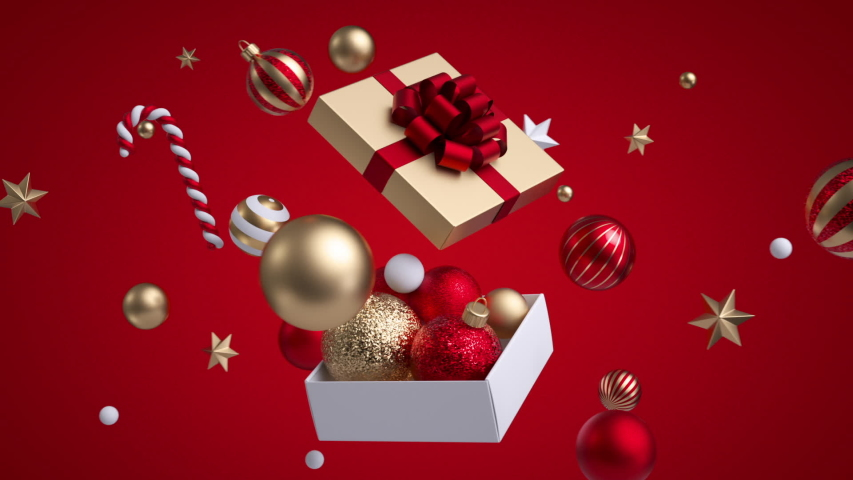 Abstract Christmas red background, golden and white ornaments stars and balls flying around square gift box. 3d objects. Minimal cycled animation   Shutterstock HD Video #1041460456