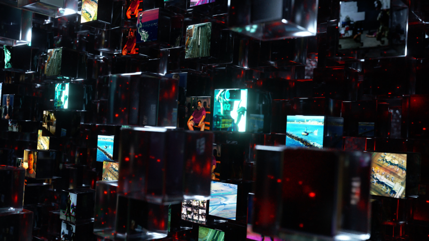 A wall of bright video screens containing personal data in a dark internet made of millions of flying glass blocks passes by. Abstract 4K animation.