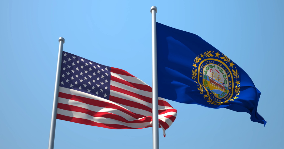 New Hampshire flag and the USA on a flagpole realistic wave on wind not synchronously, solid background. State of New Hampshire in The United States of America. Concord. Manchester.