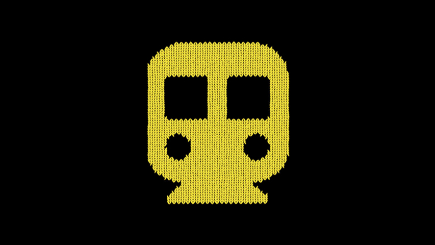 Symbol subway is knitted from a woolen thread. Knit like a sweater | Shutterstock HD Video #1042301536