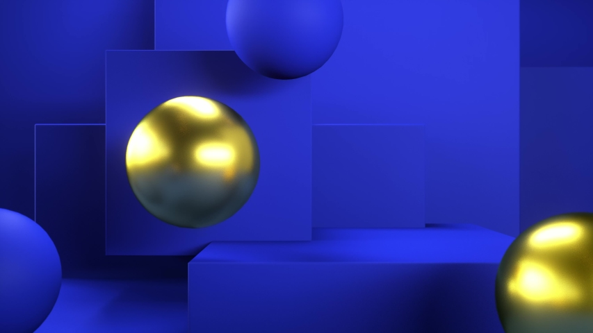 Falling spheres on blue minimal background. Abstract geometric composition. Bouncing balls. Motion design template. 3d animation. Abstract blue and goldwn bubbles. 4K UHD | Shutterstock HD Video #1042542676