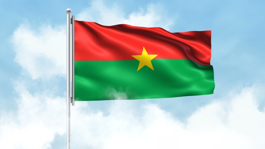 Burkina Faso Flag Waving with Clouds Sky Background | Shutterstock HD Video #1042564846