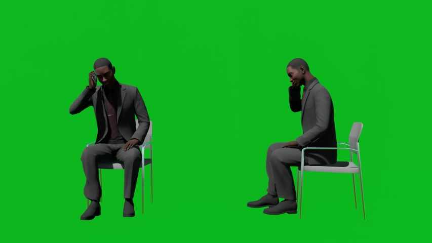 Business african man talking on the phone on chair in front view and side view, realistic 3D people rendering isolated on green screen. | Shutterstock HD Video #1042602886