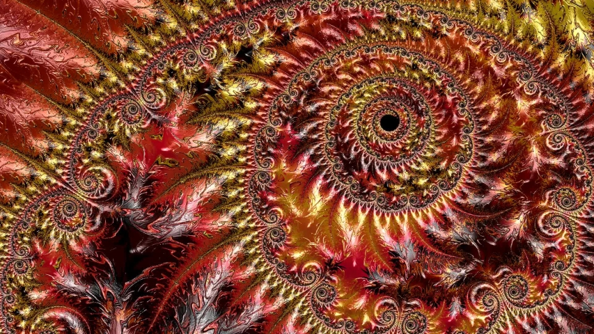 Yellow, orange and red changing color abstract textured spiral fractal pattern. Fantasy artwork for design. | Shutterstock HD Video #1042688296