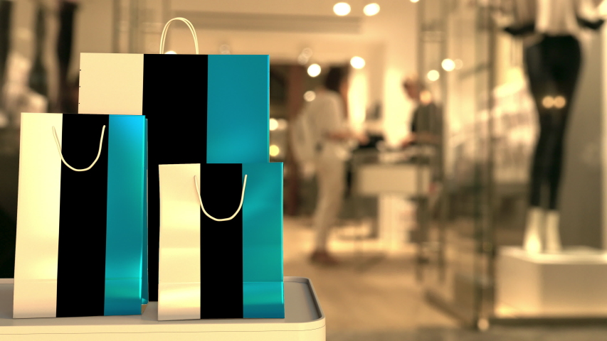 Flag of Estonia on the paper shopping bags against blurred store entrance. Retail related clip | Shutterstock HD Video #1042723366