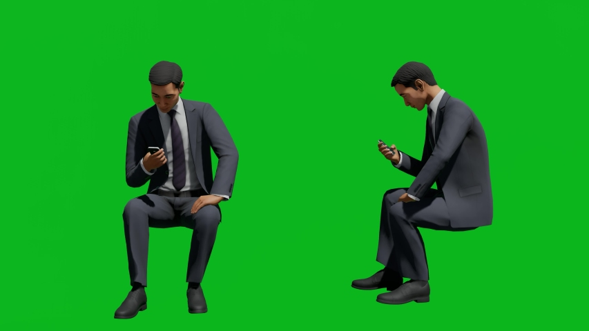 Asian business man sitting and check the phone in front view and side view, realistic 3D people rendering isolated on green screen. | Shutterstock HD Video #1042740526