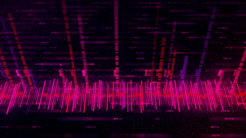 Digital waveform equalizer during working process on black background, seamless loop. Animation. Technological abstract element of a futuristic interface. | Shutterstock HD Video #1042781296