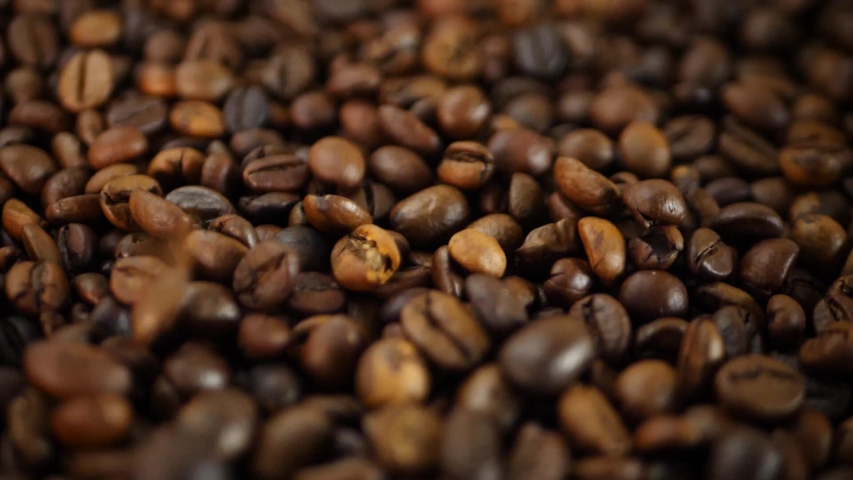 Roasted Coffee Beans Group Falling Down. Concept of making delicious aromatic drink | Shutterstock HD Video #1042800526