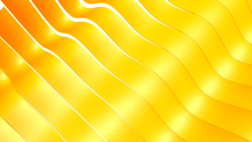 yellow three-dimensional stripes move in waves. warping animated background. 3d render #1042878016