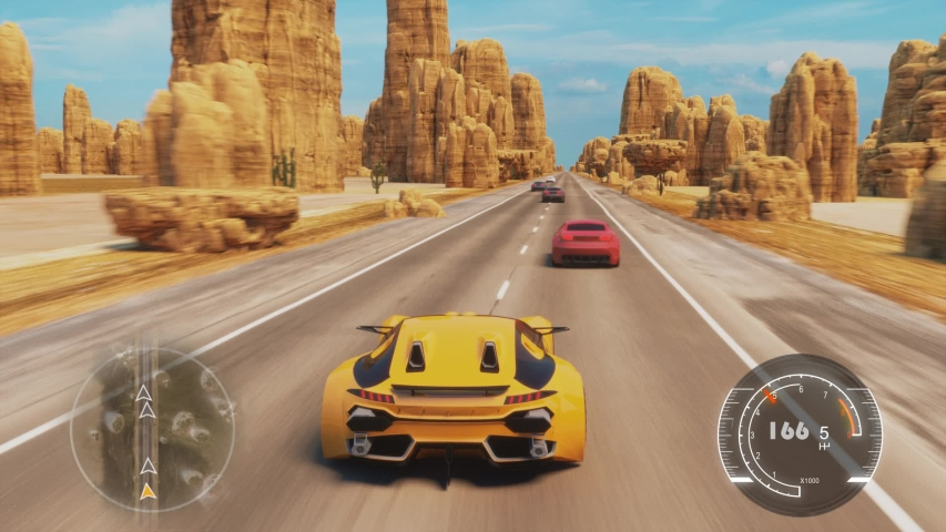 Speed Racing 3d Video Game Imitation With Interface. Sports Cars Compete On The Desert Road With Rocks. Gameplay Screen. | Shutterstock HD Video #1043054206
