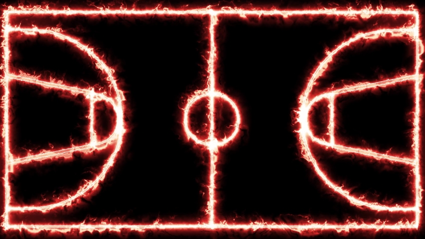 Neon, shiny glowing outline of Basketball court. Sport concept, area of basketball game, parquet with neon lights.  | Shutterstock HD Video #1043609176