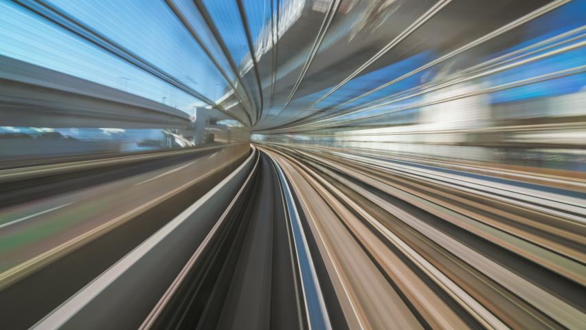 4K Timelapse Motion blur of moving train at sunset, Tokyo, Japan | Shutterstock HD Video #1043804896