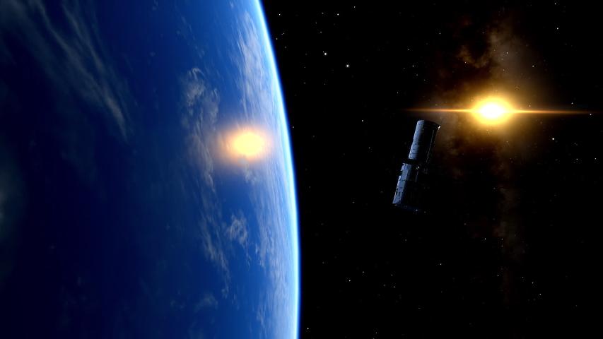 Animation of the Hubble Space Telescope at 540 km (336 mi) in orbit around Hearth. | Shutterstock HD Video #1043994166