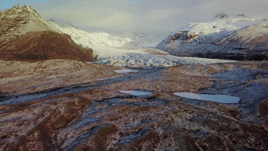 Aerial view of Vatnajokull Glacier, Iceland  | Shutterstock HD Video #1044596776