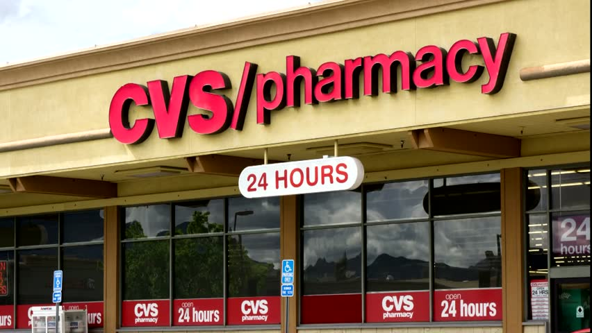 LAS VEGAS, NV/USA - Circa 2016: 4K Neon CVS Pharmacy Signage. Shot ...