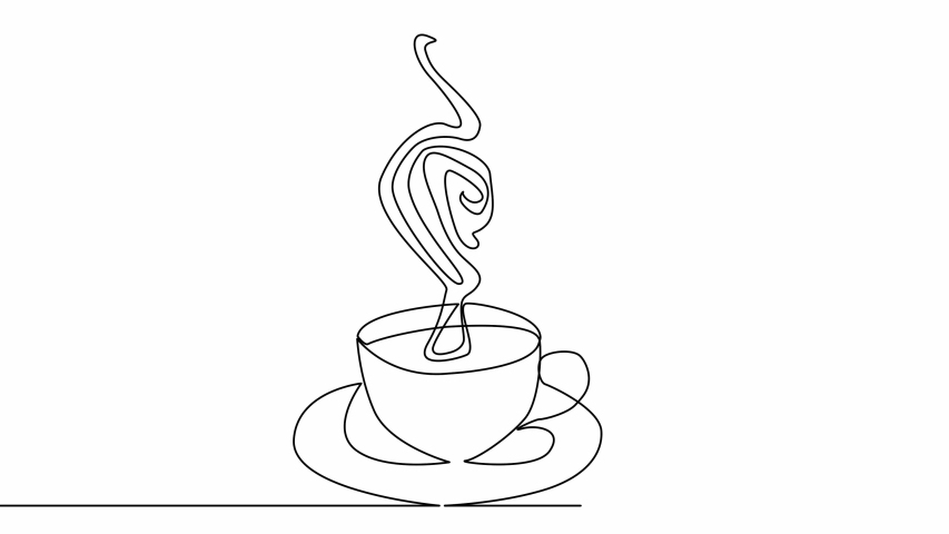 Self drawing animation of continuous one single line drawing of isolated object cup of coffee | Shutterstock HD Video #1044649486