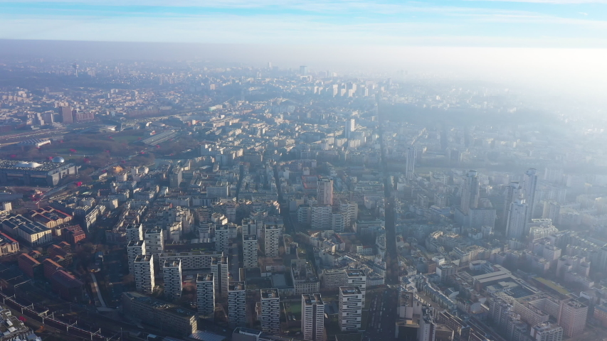 Aerial view of Paris northern districts pollution greenhouse gas smog air | Shutterstock HD Video #1044661876