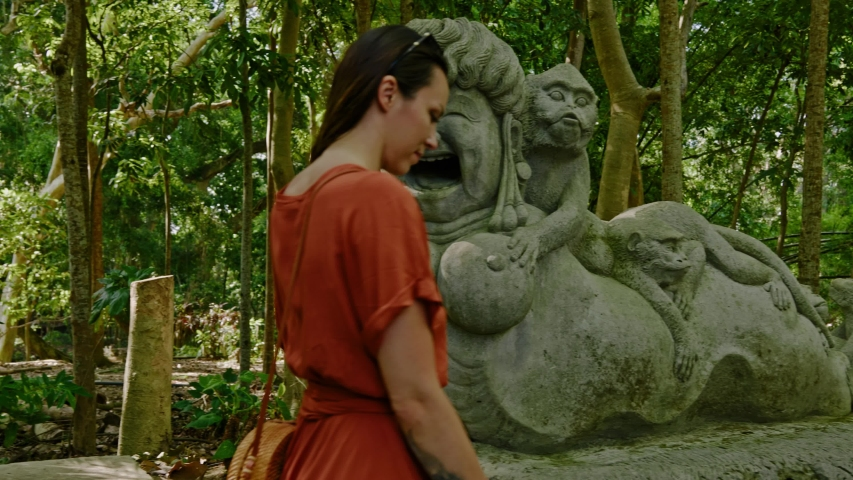 Statues at monkey forest at Ubud, Bali | Shutterstock HD Video #1044792676
