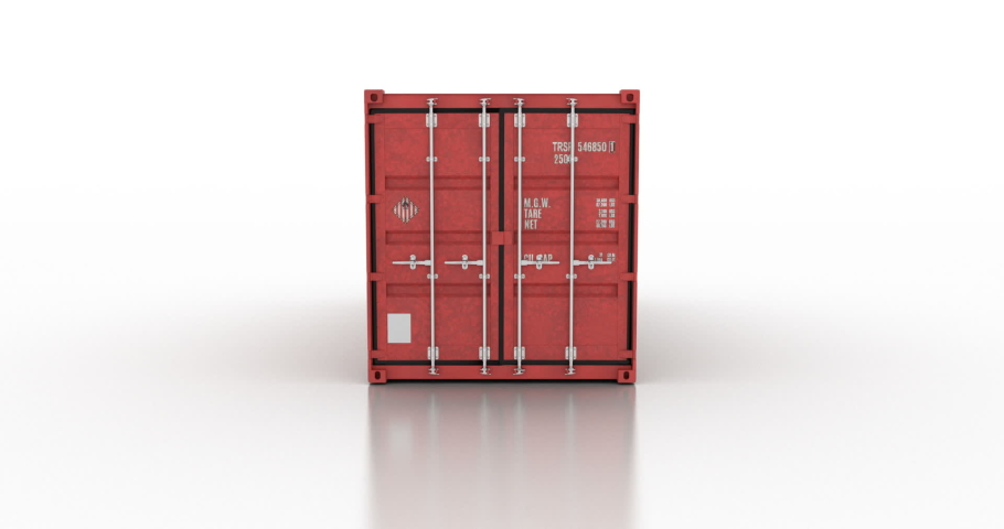 Cargo shipping container doors opening against white background   Shutterstock HD Video #1044851296
